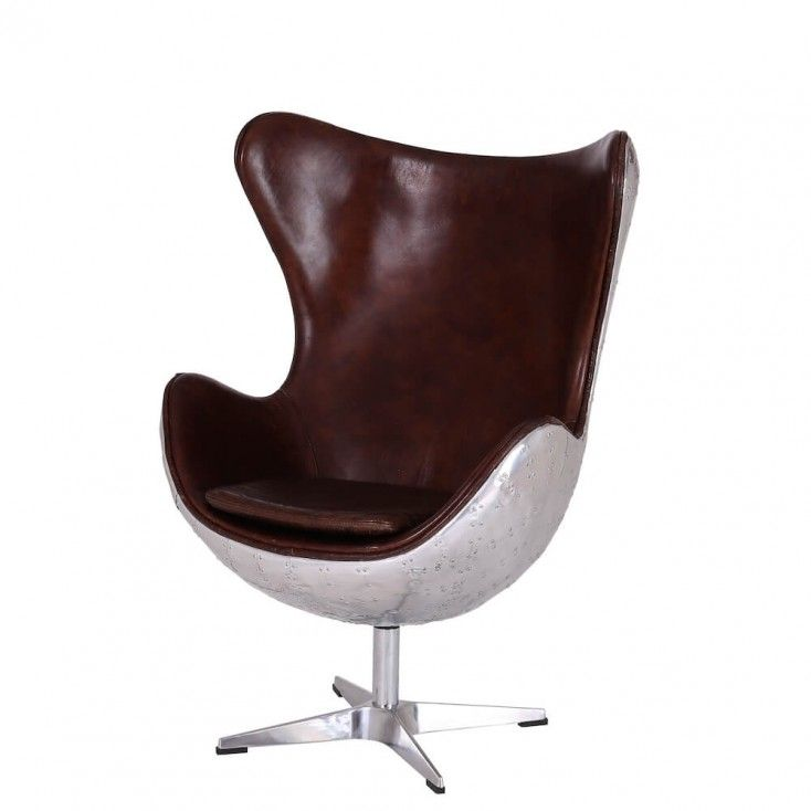 Large Spitfire Vintage Aviator Egg chair distressed leather metal backed design, our best selling aviation armchair at our aviation furniture company online U.K