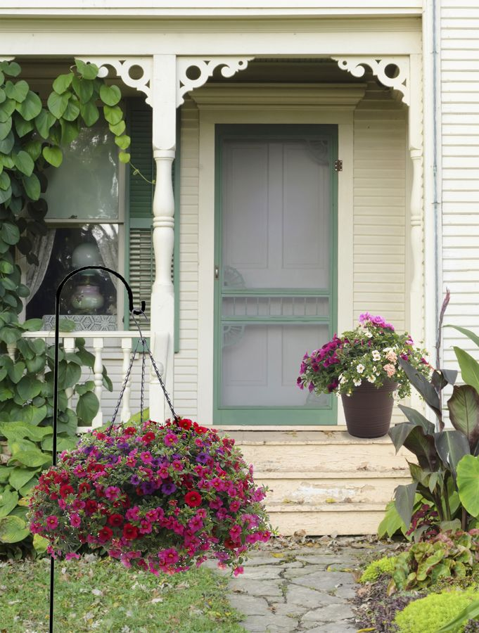 1000 images about one step style on pinterest home for Front porch hanging plants