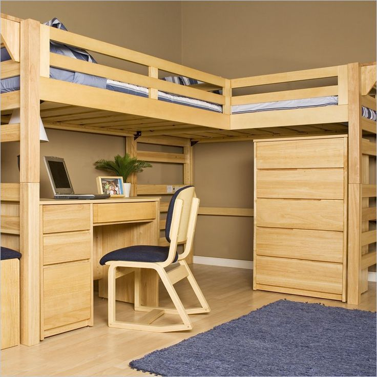 kids bunk beds: L shaped upper beds with desk and drawers below