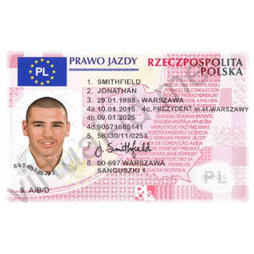 this is excellent copy of the poland drivers licence or prawo jazdy  pvc masterpiece with