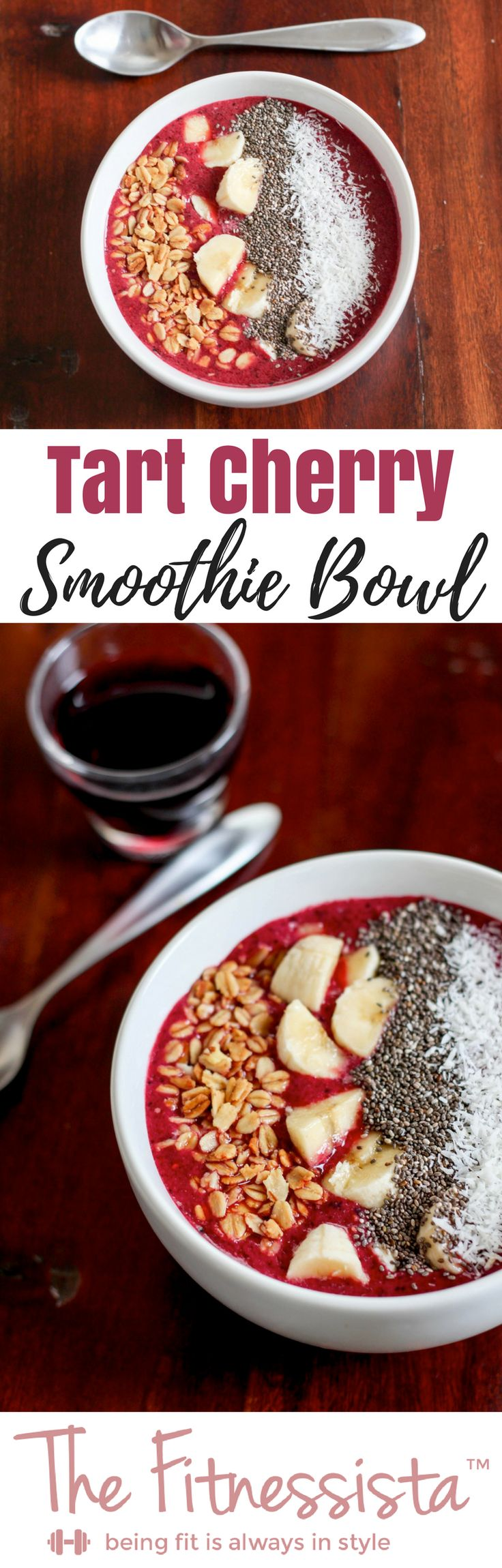 This hydrating and replenishing cherry smoothie bowl can help your muscles recover after an intense workout thanks to the tart cherry juice. fitnessista.com