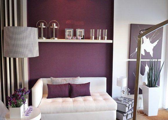 salon de design moderne en violet et blanc - Salon Noir Blanc Violet