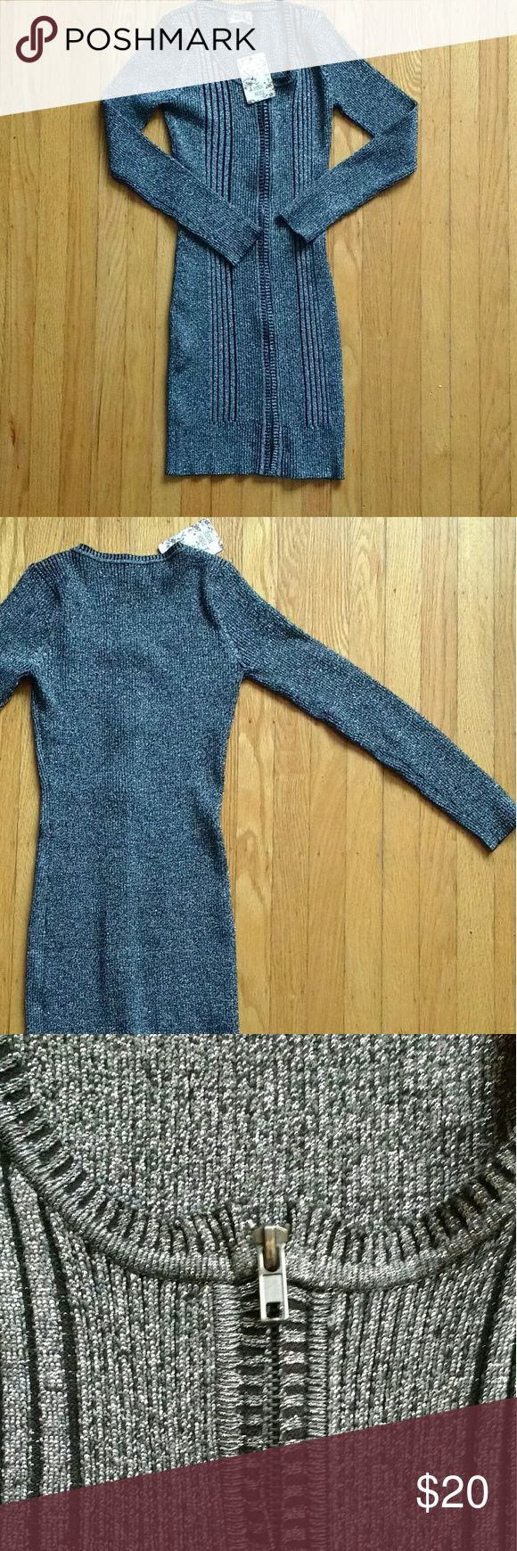 NWT Pink Rose black and silver stretchy dress NWT Pink Rose stretchy black and silver zippered long sleeve dress  size PS petite small  smoke free pet free home Pink Rose Dresses Long Sleeve