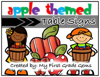 Label your classroom tables with these apple themed signs!I have included 6 signs with each sign featuring a different apple themed…