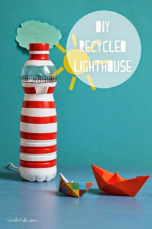 DIY vuurtoren van plastic fles, bootjes vouwen, elektrisch kaarsje erin en spelen maar!