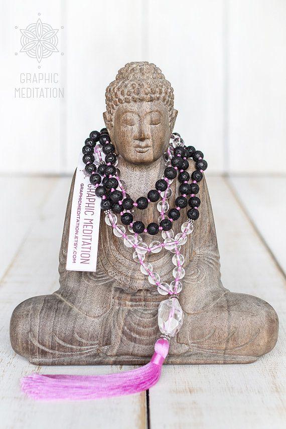 Black Lava Stone & Crystal Quartz mala beads with Purple tassel by GraphicMeditation