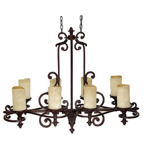 Capital Lighting 3268MZ 125 Mediterranean 8 Light 1 Tier Pillar Candle Chandelier, Mediterranean Bronze Decor