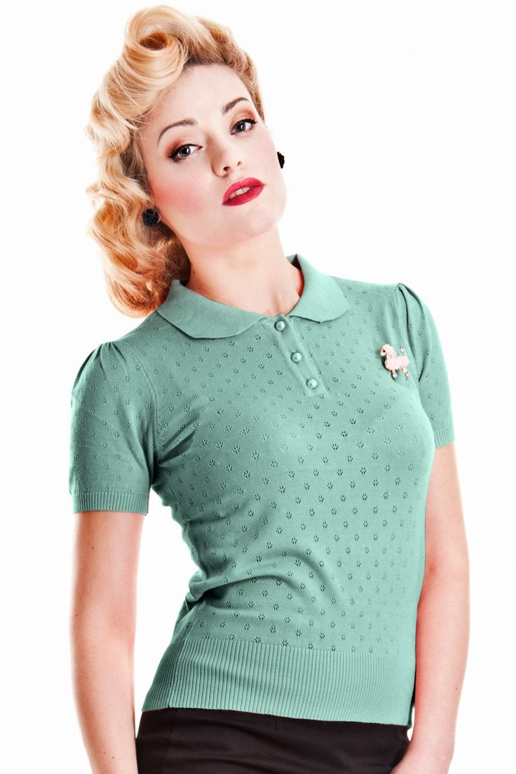 Collectif Clothing - 50s Freddie Knitted Top Vintage Green