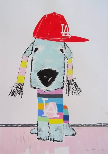 "Saatchi Art Artist Andy Shaw; Painting, ""L.A. Dodgers Bedlington Terrier"" #art"