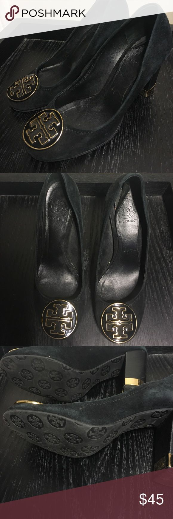 Designer Pump Classic Tory Burch wooden stacked heel pump. Black Suede. Black and gold enamel Tory Burch emblems. Condition- shoes show wear/ fading on parts of the Black suede but the overall shoe is still sturdy. The inside padding would need to be replaced or covered with a shoe insert because it is creased and peeling off. Comfortable work pump, brunch with the girls or for going out! Wear with a smart pencil skirt, jeans or dress! Tory Burch Shoes Heels