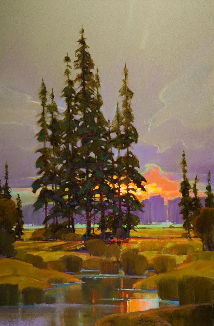 Forty Miles from Home Oil painting by Mac Stevenson #landscape #tree #art