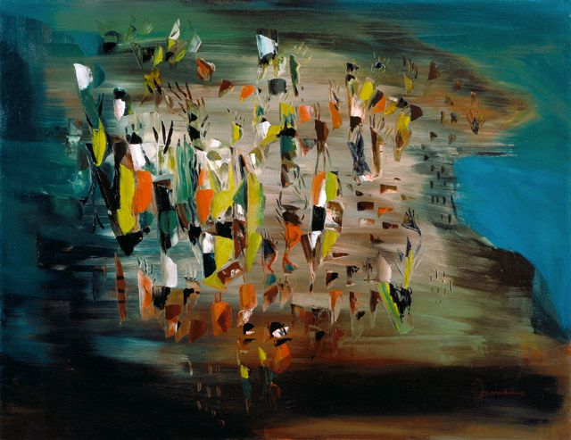 Émile Borduas - Sous le vent de l'île (1947). Follow the biggest painting board on Pinterest: www.pinterest.com/atelierbeauvoir