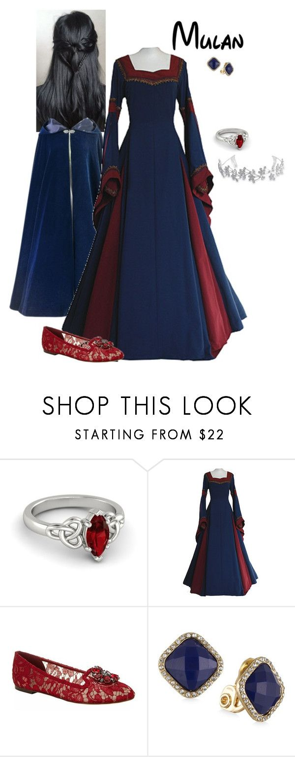 """""""Disney Renaissance Princess - Mulan"""" by briony-jae ❤ liked on Polyvore featuring Dolce&Gabbana, Anne Klein and Bling Jewelry"""