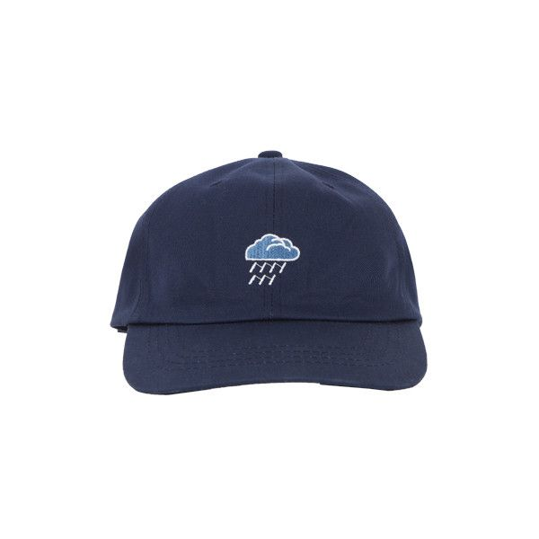 HIDE AND SEEKRain Embroidered Symbol Baseball Cap | MIXXMIX ($37) ❤ liked on Polyvore featuring accessories, hats, round hat, wide brim hat, baseball cap, adjustable baseball hats and embroidered hats