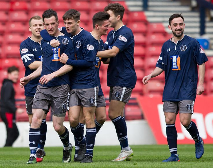 Queen's Park players celebrate David Galt's goal during the Ladbrokes League One game between Queen's Park and Albion Rovers.
