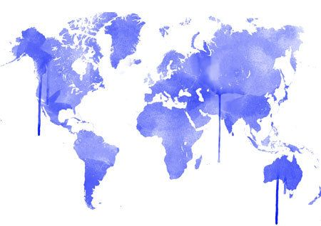 Blue Watercolor Worldmap in beautiful colors  home by DemHerPrints, $10.00
