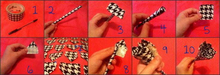 Duct Tape Flower Pen Tutorial by withloveandcyanide.deviantart.com on @deviantART