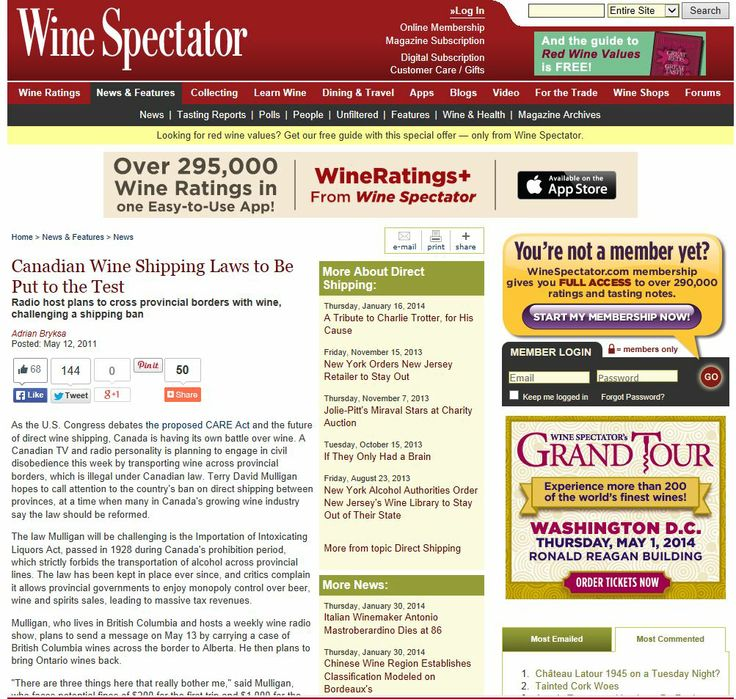 Wine Spectator  - Canadian Wine Shipping Laws put to the Test