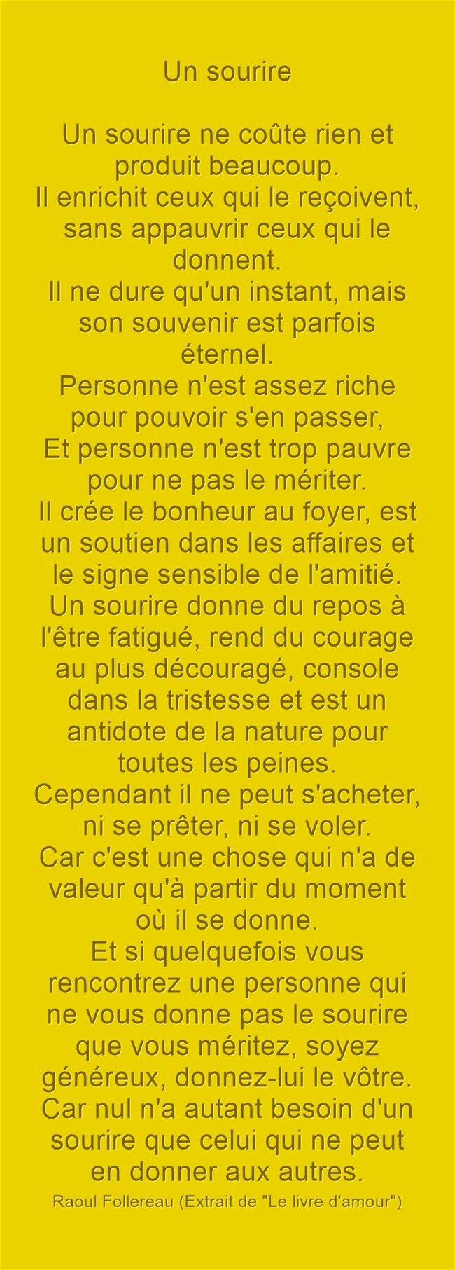 """UN SOURIRE -- Raoul Follereau (Extrait de """"Le livre d'amour"""")"""