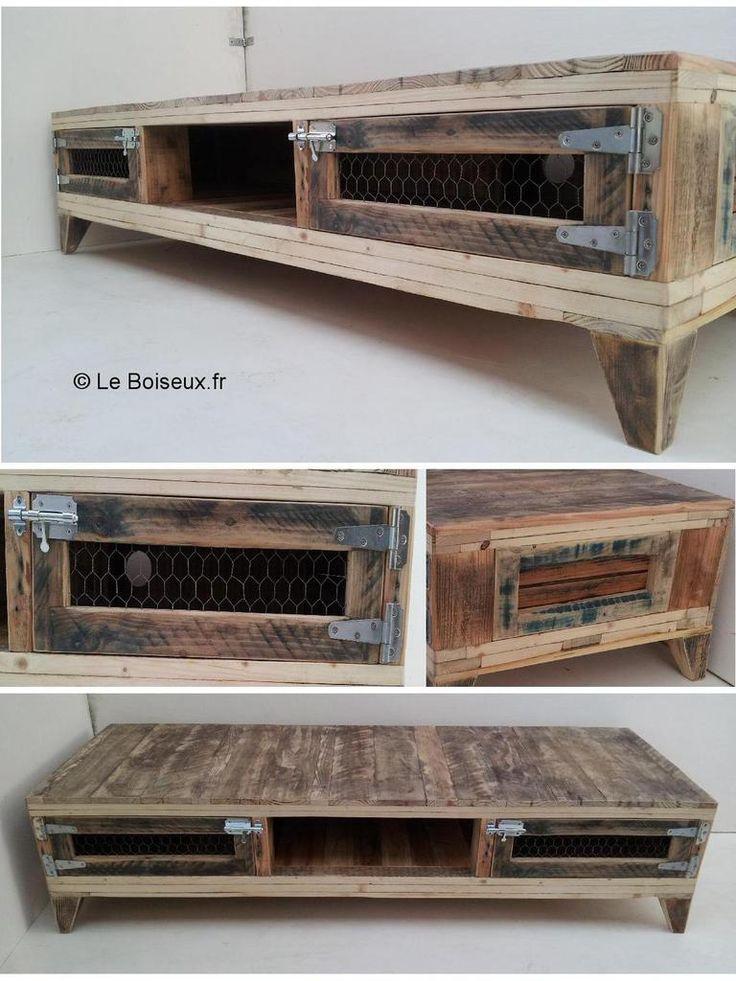 Extraits de bois de fins de chantiers se muent en banc tv au design champtre revisit pour un