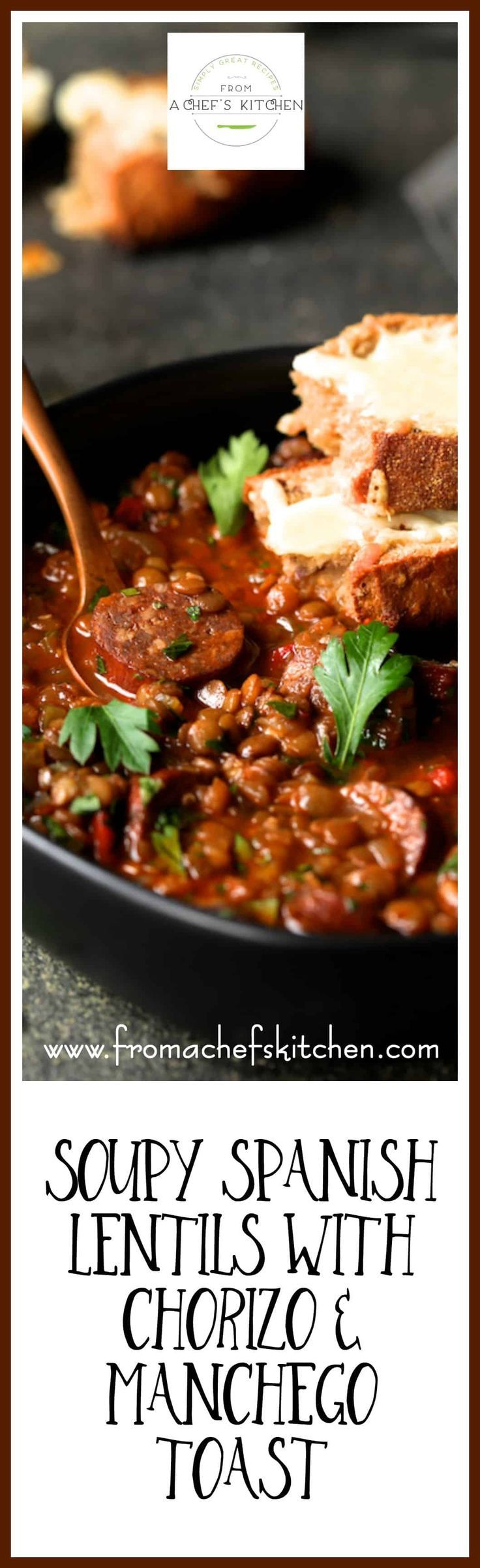 Soupy Spanish Lentils with Chorizo and Manchego Toast will have you not minding winter! Braised lentils with spicy chorizo sausage kicked up with red wine and Spanish spices and topped with melted Manchego cheese over crusty bread is perfect winter comfort food! via @chefcarolb