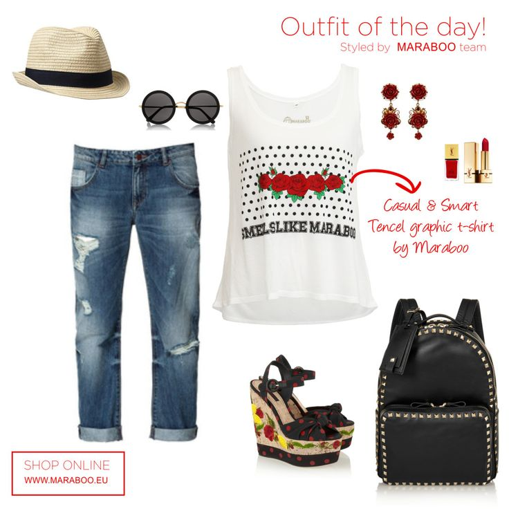 Ripped jeans,tencel red roses black dots $64.90€,black backpack