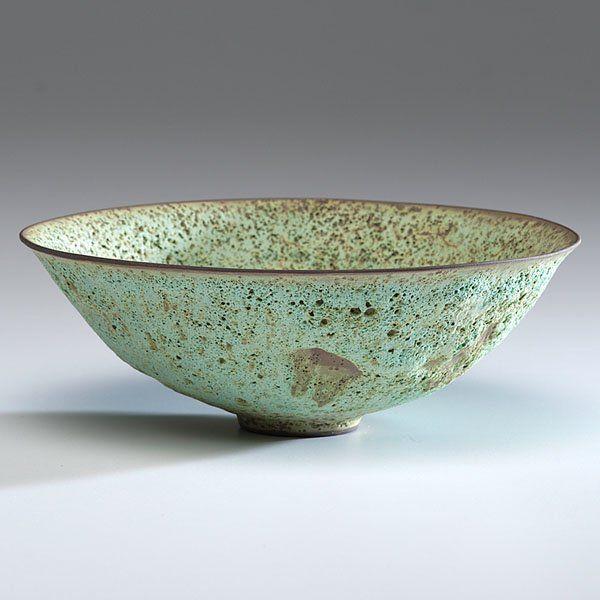 James Lovera (1920; USA) Bowl ca 1977 Ceramic; ht. 2.75, dia. 8 in. Artist signature on base.