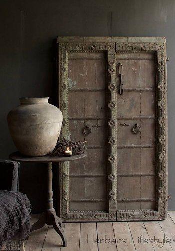 Oude Antieke Nepalese houten Deuren Set