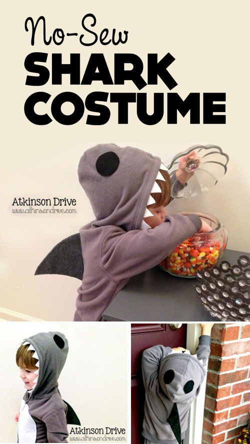 {No-Sew Shark Costume} Love the simplicity of this...