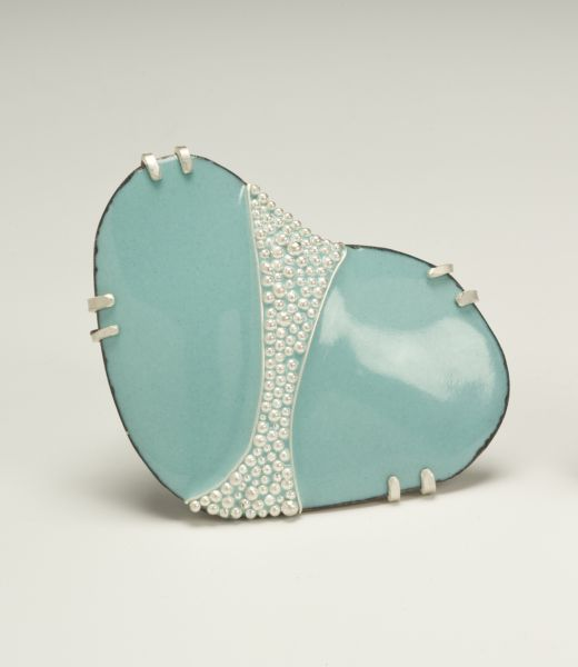 "Sarah Ockuly - ""Vintage Cleavage"" copper, enamel, sterling, fine silver"