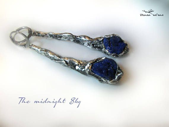 Raw azurite earrings The Midnight Sky  natural