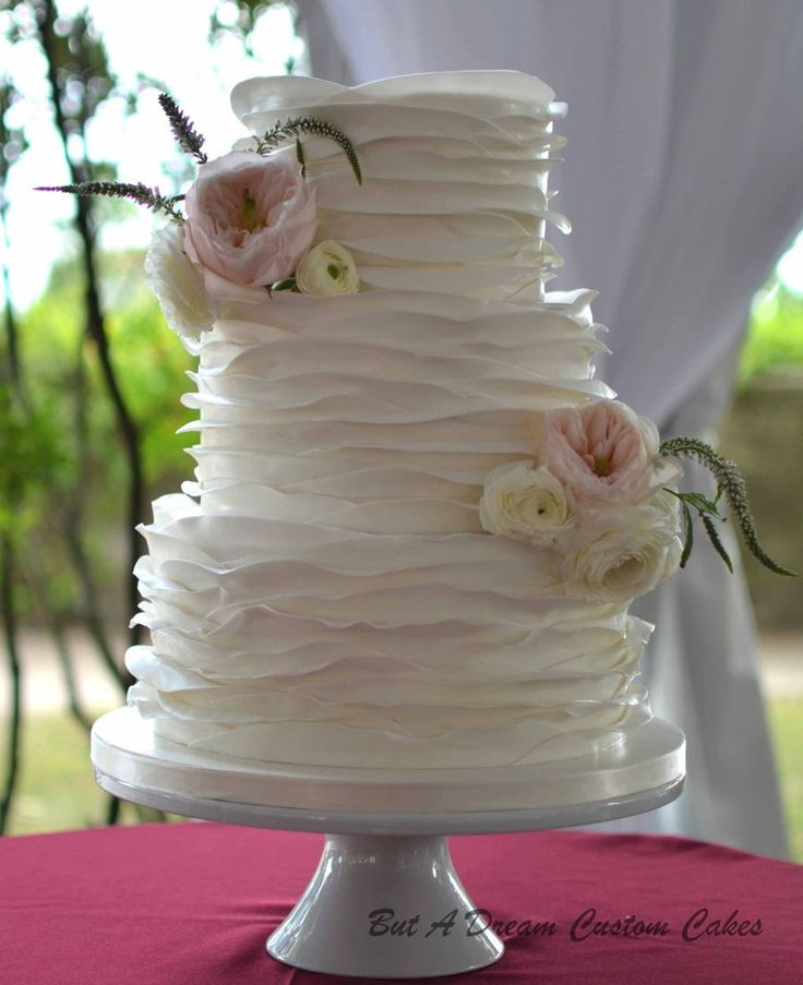 Romantic Soft Ruffle Wedding Cake.  on Cake Central                                                                                                                                                                                 More