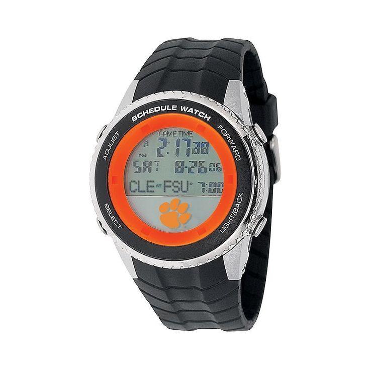 Game Time Clemson Tigers Stainless Steel Digital Schedule Watch - Men, Black