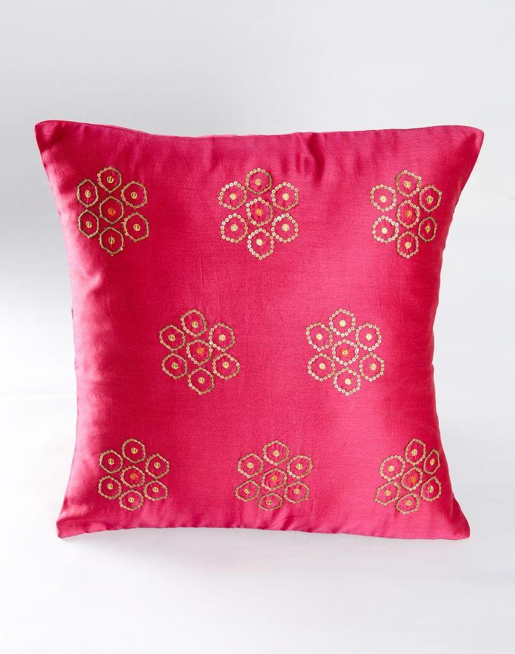 Chanderi Silk Cotton Embroidery Sequin Buta Cushion Cover