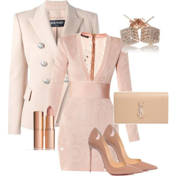A fashion look from March 2017 featuring Balmain dresses, Balmain jackets and Christian Louboutin pumps. Browse and shop related looks.