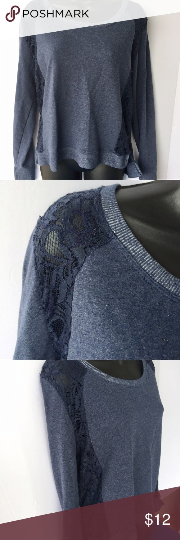 """Nine West Vintage America sweatshirt with lace Size petite M, denim color, Nine West Vintage America pullover, armpit to armpit 21"""" length shoulder to hem 21.5, arm length 26.  Has cute lace around collar and down sides. Casual and comfy, gently worn. I accept most offers, try me! Smoke and pet free home. Nine West Tops Sweatshirts & Hoodies"""