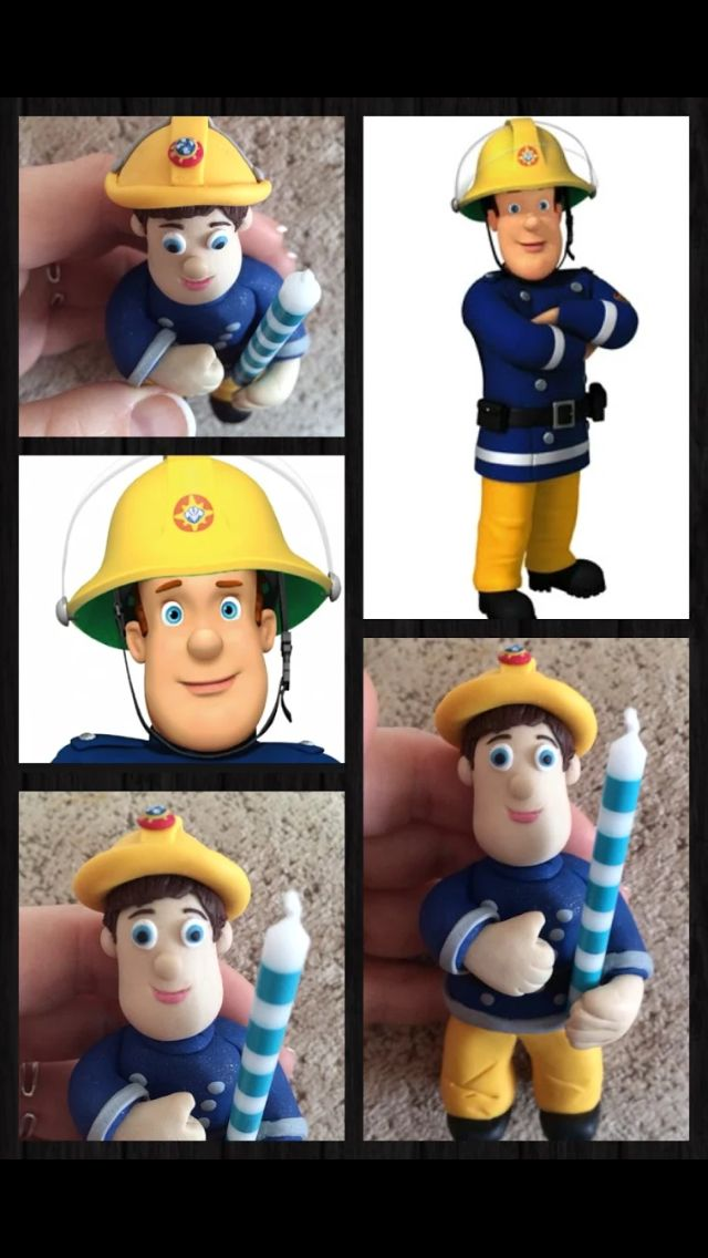 Handmade Fireman Sam birthday cake, candle holder! :-)