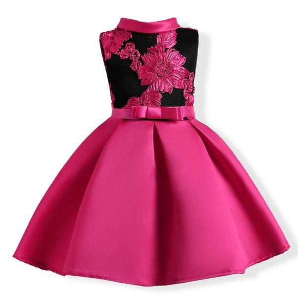 505b30e0661a1 Girls Dress Summer Wedding Dresses Children Bowknot Party Dresses ...