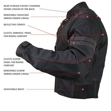 The Vulcan VTZ-910 Motorcycle Jacket is made of premium cowhide leather. It features advanced design with <b>underarm zippered vents</b> that drop heat and reduce sweat. Its <b>elastic panels</b> on elbows and armholes allow for maximum comfort in riding position. Along with its many other feature are bright <b>orange stitching</b>, <b>YKK zippers</b>, high-visibility reflective stripes, and <b>removable CE approved armor</b>. <br><br>Vulcan jackets have been tested and certified for…