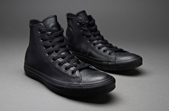 Converse Chuck Taylor All Star Leather Hi - Mens Select Footwear - Black Monochrome