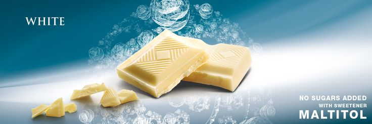 Tablet with sweetener Maltitol, white chocolate. Cavalier the pioneer in no sugars added chocolate.