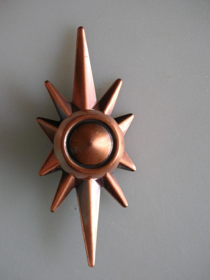1960s Atomic Starburst Hardware Antique Copper Drawer Pull