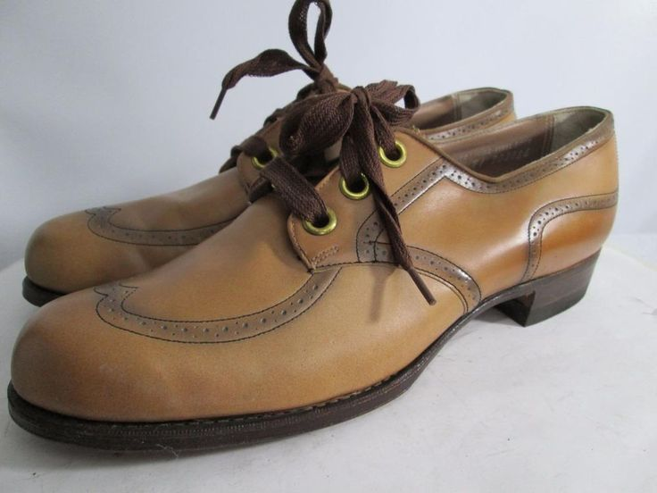 1940s 40s Womens Shoe Oxford Jane Miller 8.5 A Brown Leather Wingtip Lace  Up #BJaneMiller