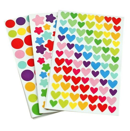 6 sheets/set Colorful Seal Cute Love Heart Dot Five-pointed Star Decoration Scrapbooking Paper Stickers Stationery Post It