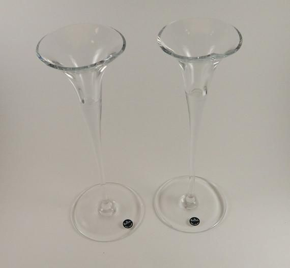 "Vintage Rosenthal ""Calla"" Crystal Candle Holders 10 1/4″ High, NIB from Slovenia Pair"