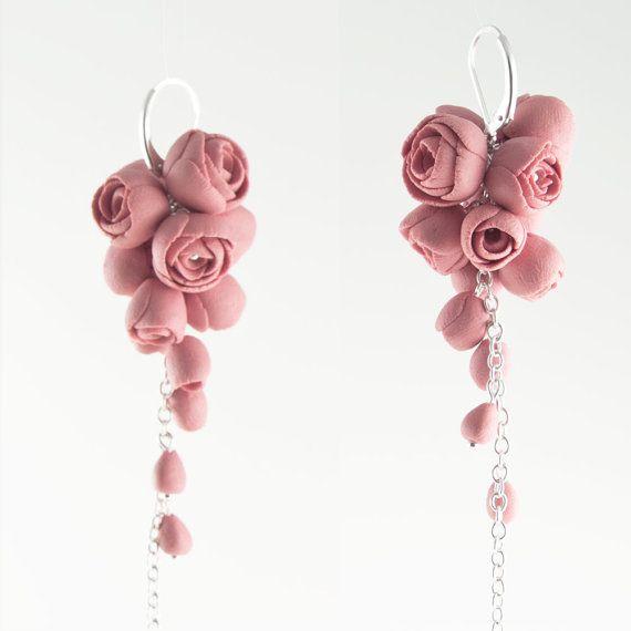 Argent sterling Rose boucles d'oreilles porcelaine par MaaPstudio