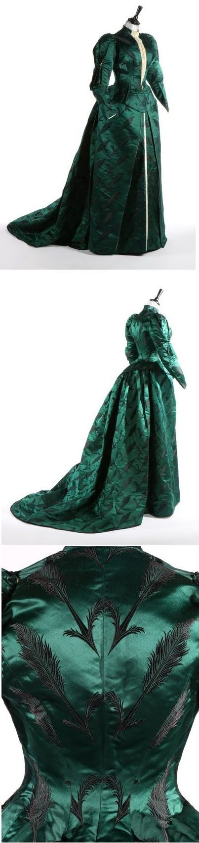Bottle-green brocaded satin gown, Charles Frederick Worth, circa 1890-93 love the black embroidered feather