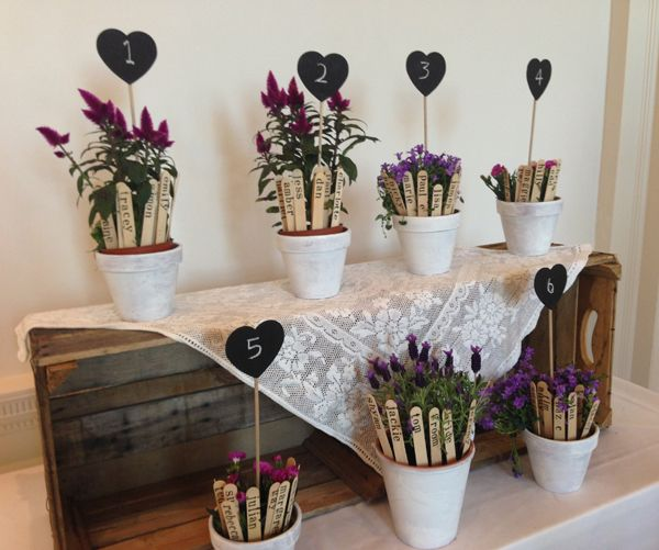 wedding table plan potted plants