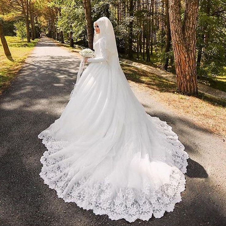 Vestido De Noiva Arabic Muslim Lace Wedding Dress With Hijab High Neck Long Sleeve Custom size White Bride Bridal Gown casamento