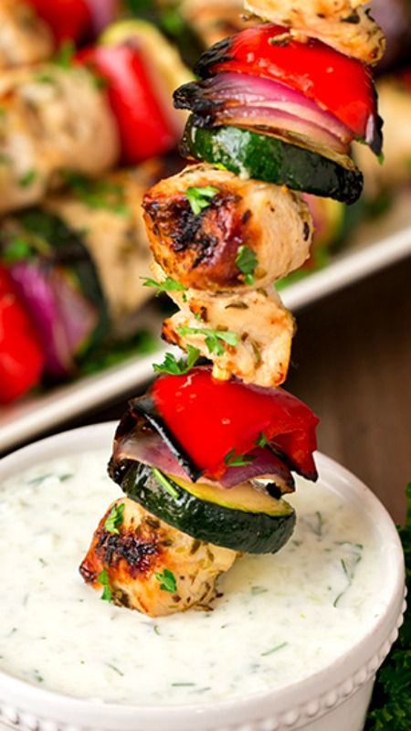 Greek Chicken Kebabs with Tzatziki Sauce ~ They're so flavorful and they're healthy... The Tzatkiki Sauce is also great with pita chips or veggies, add it to a wrap or spoon it over your grilled salmon the next day.